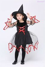 Halloween Cosplay Party Witch Tulle Dress Costume Kids Girl Fancy Dress+Hat