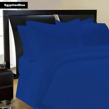 USA 1000TC 100% COTTON EGYPTIAN BLUE SOLID BEDDING ITEMS CHOOSE SIZE & BEDDINGS