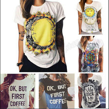 HOT Summer Women Short Sleeve Vintage Printed T Shirt Casual Tops Loose Blouse