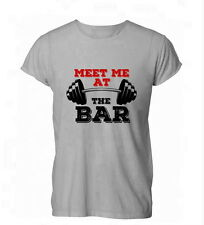 Meet Me At The Bar bench Gym Workout Funny Womens Mens T-Shirt Grey