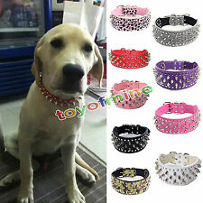 Pitbull Mastiff PU Leather Durable Black Spiked Large Pet Dog Studded Collar #S