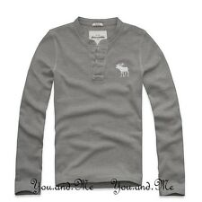 NEW ABERCROMBIE FITCH KIDS A&F Boys Waffle L/S Knit Henley Tee T Shirt Grey M L