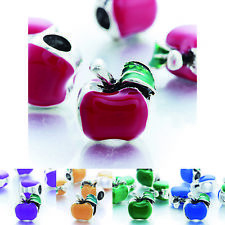 5pcs European charm Enamel love Apple beads Fit bracelet silver plated jewelry