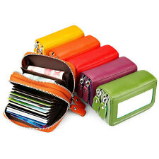 Women Card Holder Genuine Leather ID Credit Card Case Short Double Zipper Wallet