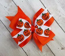 "Boutique Halloween Pumpkin Orange Double Layer Hair Bow 4"" Clip or Barrette"