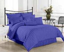 (EGYPTIAN BLUE STRIPE) 1000TC COMPLETE BEDDING COLLECTION 100% COTTON ALL SIZE