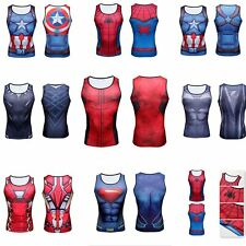 Compression Marvel Superhero Sport Vest Sleeveless Cycling Tank Top Men's Shirt