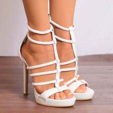 WHITE PU ANKLE STRAPS PLATFORMS STRAPPY SANDALS HIGH HEELS SHOES PEEP TOES