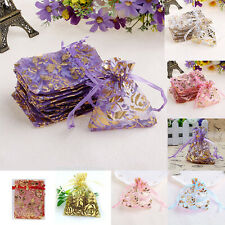 25pcs 7x9cm Gauze Organza Rose Flower Jewelry Packing Pouch Wedding Gift Bags