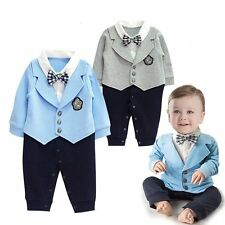 Baby Boy Wedding Christening Tuxedo Formal Wear Jacket Suits Outfit Cloth 3-24M
