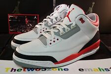 Nike Air Jordan 3 Retro White/Fire Red-Cement Grey sz 13 III xi iv 88 v