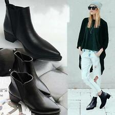 New Womens Mid Heel Pointed Toe Punk Roma Pull On Ankle Boot Motor Oxford Shoes