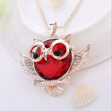 Vintage  Statement Tide Pendant Rhinestone Hot Chain Round shape Owl  necklace