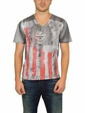 NEW ROCKSTAR SUSHI MEN'S 'FLC005' V-NECK TEE S/S JIM MORRISON SKULL IN GREY
