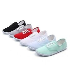 Womens Girls Classic Canvas Plimsoll Shoes Sneakers lace Up Sizes 17 Colors AU