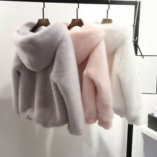 Winter Mink Fur Long Sleeve Coats for Women Faux Furs Jacket Hooded Zipper  Coat
