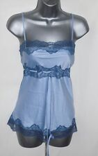 Blue Satin With Lace Trim Satin Feel Camisole