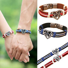 Lover Couple Hollow Heart Knitted Leather Bangle Cuff Buckle Bracelet Hot Sale
