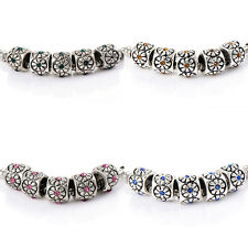 10pcs crystal Charm it Flower Beads Fit Bracelet Making Jewelry silver plated je