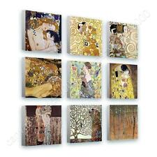 CANVAS +GIFT Mother Kiss Tree Life Fan Gustav Klimt Set Of 9 Wall Art Paints