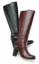 New Womens Casual Winter Heel Faux Leather Chevron Knee High Boots