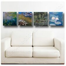 CANVAS +GIFT Water Lilies Claude Monet Set Of 4 Giclee Wall Decor Paints