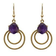 Gold-plated Brass Amethyst Spider Dangle Earrings