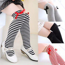 Beautiful Girls Cotton Knee Socks Kids Children Baby Bowknot Striped Leg Warmers