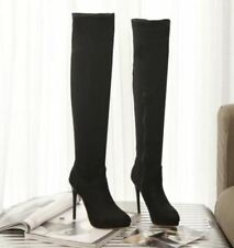 Womens Stilettos High Heels Faux Suede Shoes Knee High Boots Zip Stretchy Slouch