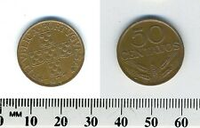 Portugal 1977 - 50 Centavos Bronze Coin - Circles within cross