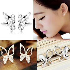 Fashion Women 925 Sterling Silver Plated Butterfly Ear Stud Earrings Jewelry