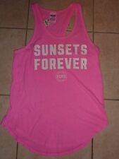 """VICTORIAS SECRET PINK NEW 2016 GRAPHIC """"SUNSETS FOREVER"""" TANKTOP TEE NWT"""