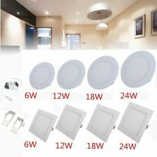 LED Recessed Ceiling Panel Light 6W 12W 18W 24W Downlight Flat Lamp Square/Round