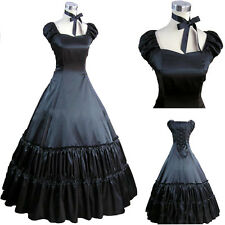 Black Ladies Gothic Victorian Cosplay Lolita Costume Ball Gown Fancy Party Dress