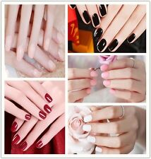 24pcs Lady Purity Fake Nails Short Solid Full Cover French Nail Art Tips Acrylic