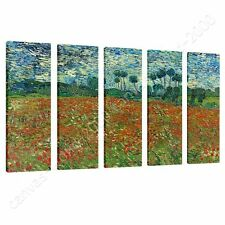 CANVAS +GIFT Poppies Field Vincent Van Gogh 5 Panels Pictures Posters Prints