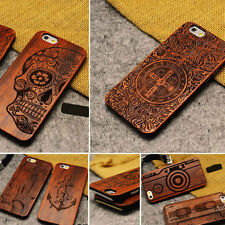 2016 Natural Carved Wood Wooden Pattern Hard Back Case Cover Shell For iPhone 7