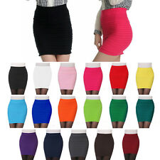 Mini Sexy Women Pleated Seamless Stretch Tight Bodycon Skirt Short Pencil Dress