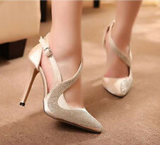 Rhinestone Womens Platform Pumps Pointy Toe High Heels Party Shoes Beige/Black