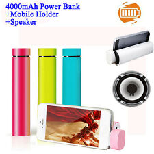 3 in 1 Mini Tube Power Bank 4000mAh Charger Portable Mobile Holder Speakers Gift