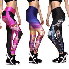 Women Yoga Exercise Gym Print Sports Pants Leggings Fitness Stretch Trousers