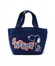 PEANUTS SNOOPY Print Cotton Lunch Box Tote Bag Handbag Purse from Japan T4819