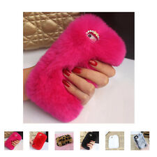 Luxury Winter Warm Soft Rabbit Fur Crystal Bling Case Cover For iPhone Samsung