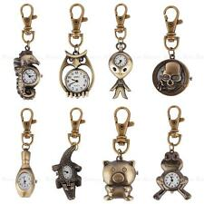 Vintage Cute Bronze Key Ring Pocket Quartz Pendant Watch Kids Gift