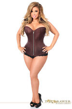Sexy Steel Boned Bustier Zipper Corset Lingerie Brocade Fabric Brown S-6XL