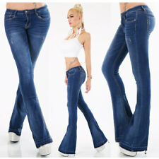 Womens Boot Cut Jeans NEW Designer Blue Low Rise Bootleg Size 6 8 10 12 14