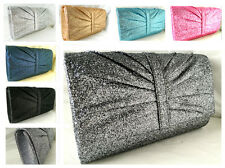 NEW PEWTER GREY SILVER ROSE GOLD NAVY BABY PINK GLITTER EVENING CLUTCH BAG PARTY