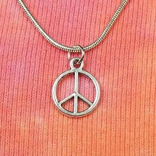 Peace Sign Symbol Necklace, Snake Chain-Choose Your Length, Hippy Hippie Jewelry