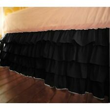 """Home Fashion Ruffle Bed Skirt Black Solid Drop 8 To 20"""" Egyptian Cotton"""