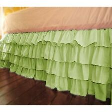 """Home Fashion Ruffle Bed Skirt Sage Solid Drop 21 To 30"""" Egyptian Cotton"""
